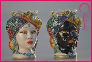 teste di moro siciliane coppia uomo donna in ceramica di Caltagirone originali