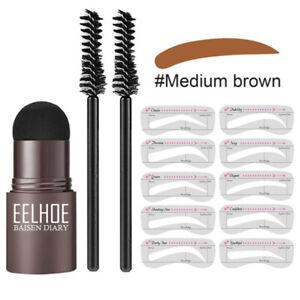Brow Stamp Shaping Kit Eyebrow Definer Makeup + 2x Brush+10x Eyebrow Stencil Set