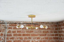 Modern Chandelier Gold 3 Arm 6 Light Bulb Brass Sputnik Mid Century Light