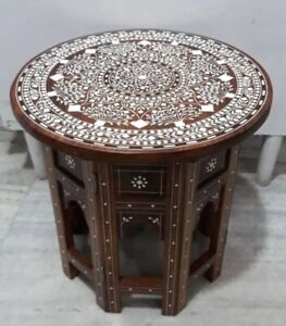 Handmade Carved  Indian Inlaid Table