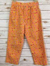 1980 Maverick Denim Jeans Orange Flowers Size 18 Plus Size Petite Vintage fs KK