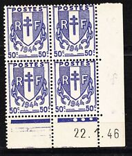 FRANCE COIN DATE BLOC DE 4 TIMBRE NEUF N° 673  TYPE CHAINE BRISEES