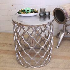 Shimla Metal Side Table Rough Cast Aluminium Shabby Chic Vintage Round Moroccan