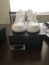 Jordan 1 Low Triple White Tumbled Leather Size 8