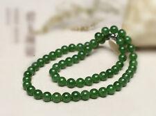 Fashion natural green jade handmade 6mm Round beads Jewellery jade Necklaces