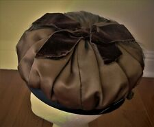 """Vintage Hat Brown with Feathers Satin Lining Handmade Hatpin Netting 21.5"""""""
