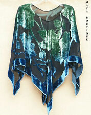 Poncho Top Silk Burnout Velvet Maya Dyed Stained Glass Collection Green & Blue