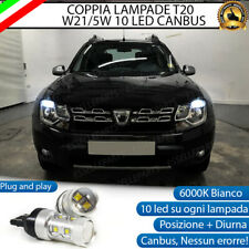 COPPIA LAMPADE T20 10 LED W21/5W DIURNE + POSIZIONE DACIA DUSTER 6000K CANBUS