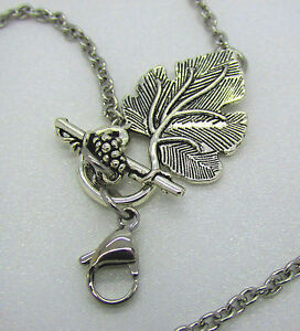 Stainless Steel Grape Leaves Vine Toggle Chain Lobster Clasp for Floating Locket