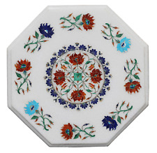 """12"""" White Marble Center Coffee Table Top Eid Ramadan Marquetry Patio Deco H2315"""