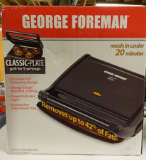 USED ONCE EUC GEORGE FOREMAN 5 SERVING CLASSIC-PLATE GRILL / GREASE TRAY GRV80B