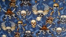 "Heavy Metal Pirate Skulls & Crossbones 100% Cotton Fabric Remnant 26"" X 44 Mint"