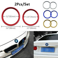 2pc Car Front Rear Logo Surrounding Ring For BMW 82 mm & 74 mm Emblem Hood Trunk