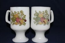 Corelle SPICE of LIFE Milk Glass PYREX Footed Pedestal MUG/CUP ~ Set of 2
