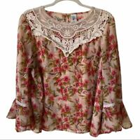 Disney LC Lauren Conrad Long Flared Sleeve Floral Top XL Womens