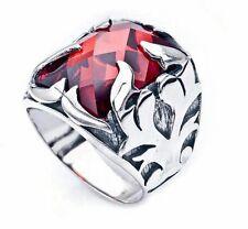 Bague Chevalière Homme Argent massif 925 Serti zircon rouge 12gr Men Silver Ring