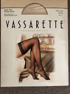 Vassarette Lace Top Thigh High Sheer Nylon Stockings Hosiery Beige One Size NIP