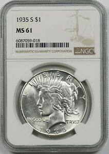 1935-S $1 NGC MS 61 Peace Silver Dollar