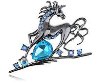 US Magnificent Sapphire Aqua Diamante Rhinestone Running Horse Pin Brooch