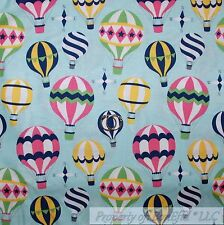 BonEful FABRIC Cotton Quilt Blue White Cloud Hot Air Balloon Country Star SCRAP