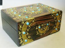 Superb Antique English Calamander Enamel & Brass Table Casket Box  c. 1880