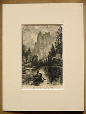 SENTINEL ROCKS YOSEMITE USA SMALL ANTIQUE MOUNTED ENGRAVING FRM 1876 PUBLICATION