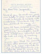 JETTA GOUDAL Vintage Original SIGNED LETTER, PERSONAL Letterhead LAMPARSKI #2