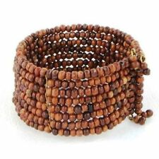 Bracelet Wide Cuff Hand Beaded Wood Beads Memory Wire Fashion Accessory