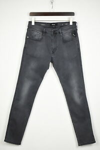 REPLAY ANBASS M914Y Men's W34/L32 Very Stretchy Grey Slim Fit Jeans 37729-GS