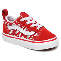 Vans Boys Old Skool Elastic Lace Toddler Shoes VN0A4TZOW35 Logo Repeat RacingRed