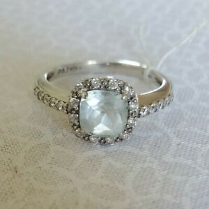 Sterling Silver Blue Topaz & Cubic Zirconia Halo Ring Size 7 MSRP $125.00