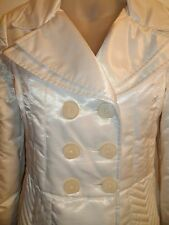 2b Bebe S White Puffer Jacket Coat Down Feather Collared Shiny Button Winter