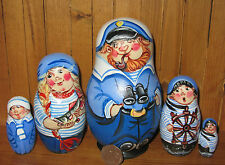 Russian Nesting Doll Matryoshka Babushka 5 MATT  SAILOR FISHING FAMILY signed