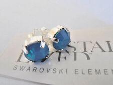 Swarovski Earring Carribean Blue Opal Stud Post Piereced Earrings