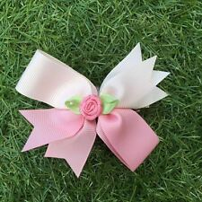 Baby Toddler Girl Hair Clips packed flower -Pink green