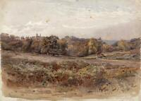 CASTLE IN LANDSCAPE POSSIBLY IRELAND? Victorian Watercolour Painting c1880
