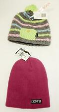 Lot of 2 Dakine Kids Beanie Winter Hat, Zeke & Dylan, Grey Stripe Berry One size