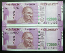 2 India 2000 Two Thousand Rupees banknotes, 2016, UNC consecutive numbers notes