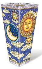 "Celestial Vase AMIA 10"" High Sun Moon Stars Sky Hand Painted Glass New"