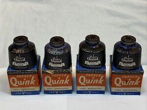 Parker Quink Microfilm Black Ink Glass Bottle Lot of 4 Set AS IS Vintage Old USA