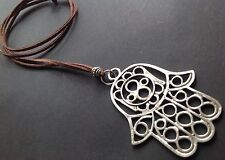 Long Suede Necklace With A Very Large Statement 70mm Hamsa Hand Boho Bijoux
