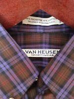 Vintage Van Heusen Sportswear Mens Purple Plaid Button Down Shirt Size S Taiwan