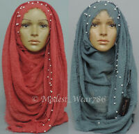 Premium Cotton Viscose Maxi Pearl Crinkle Hijab Scarf Shawl Muslim 180x100cm