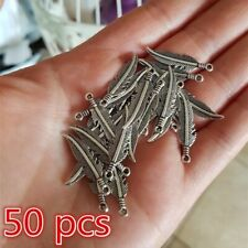 50pcs Charms Tibetan Silver Feather Pendant for Earrings DIY Jewelry Making