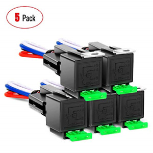 5 Pack 30A Fuse Relay car Truck Socket kit-30A Switch Harness Set-12V