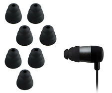 BLACK TRIPLE FLANGE SILICONE IN EARPHONES HEADPHONE EARBUDS TIPS RUBBER S/M/L UK