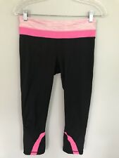 LULULEMON RUN INSPIRE CROP PANTS Black Pink space dye  size 6 EUC Gym luxtreme