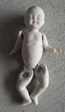 """Vintage 1970s Shackman Jointed Bisque Baby Boy Doll 3 3/4"""" Tall"""