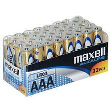PILAS ALCALINAS AAA 32 unidades - Maxell LR03 Alcalina Duradera 1.5 voltios