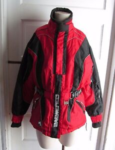 Coldwave Womens Belted Snowmobile Snow Parka Jacket Red Small Quilted Thermolite